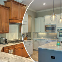 wood refinishing franchise beautiful blue and white kitchen with unique lighting