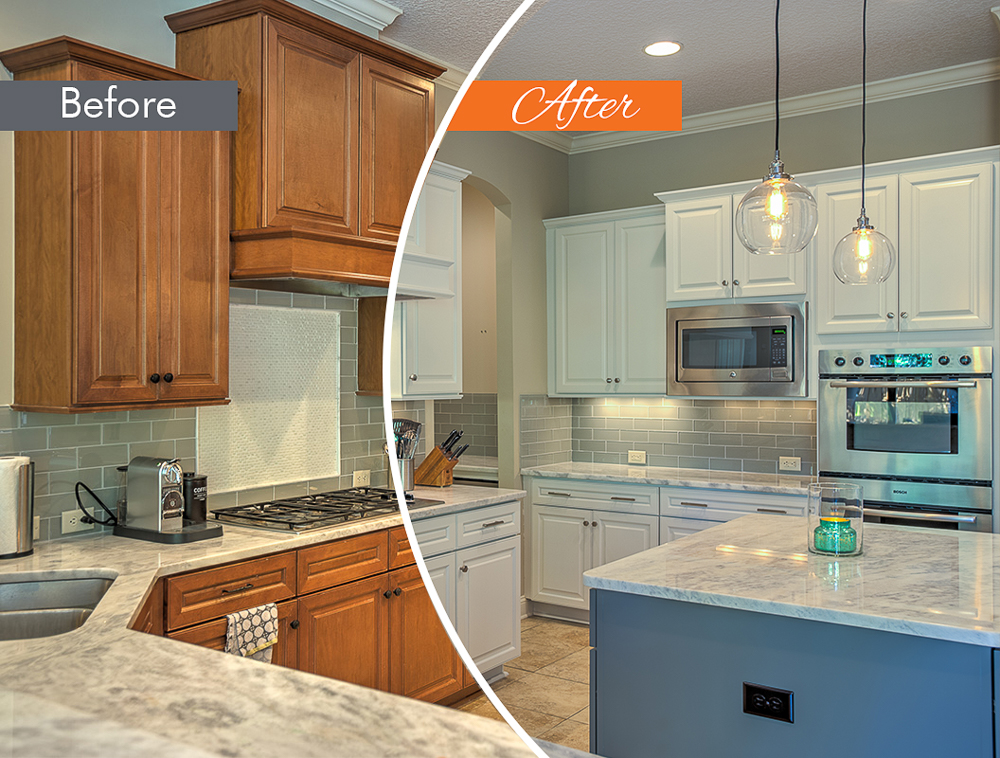 transformation of brown kitchen to blue and white cabinets