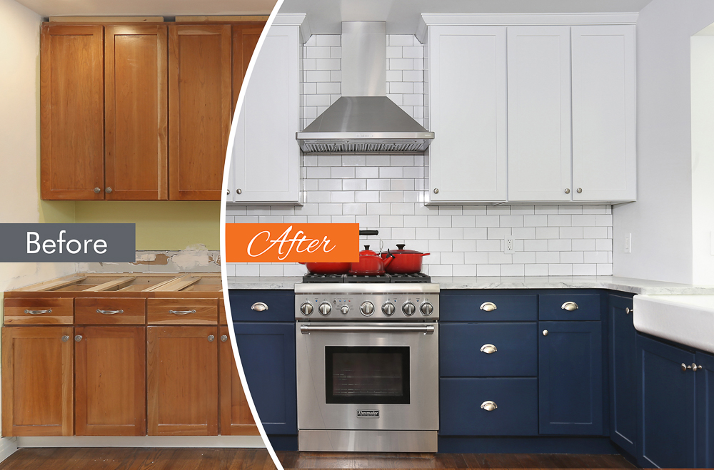 transformation to blue and white cabinets