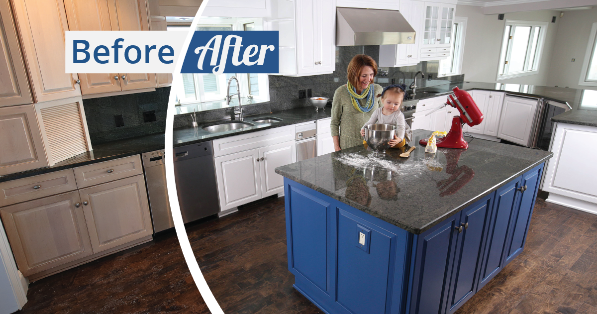 N-Hance refinished kitchen with kid making a mess while mom laughs in new kitchen