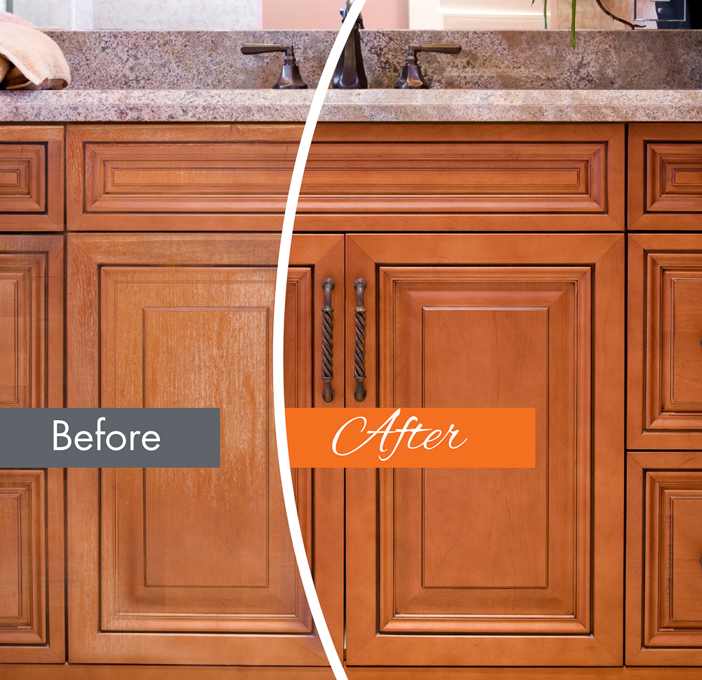 before and after picture of wood refinishing franchise- n-hance franchises