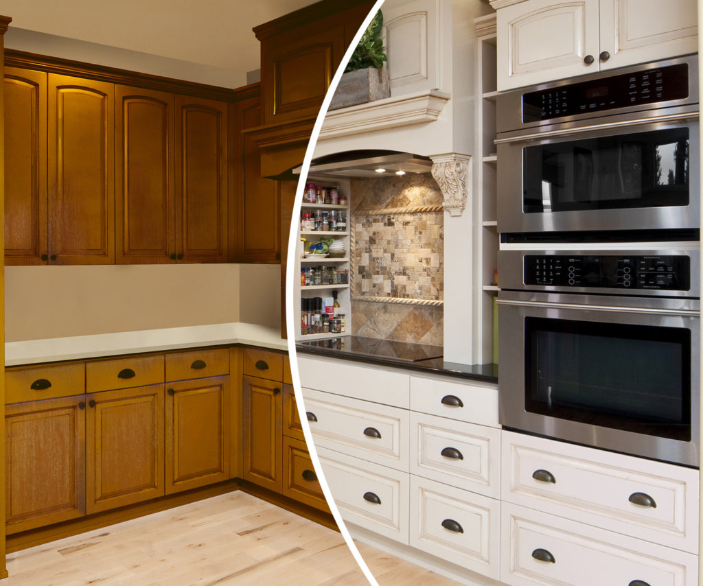 N-Hance refinished kitchen before and effort