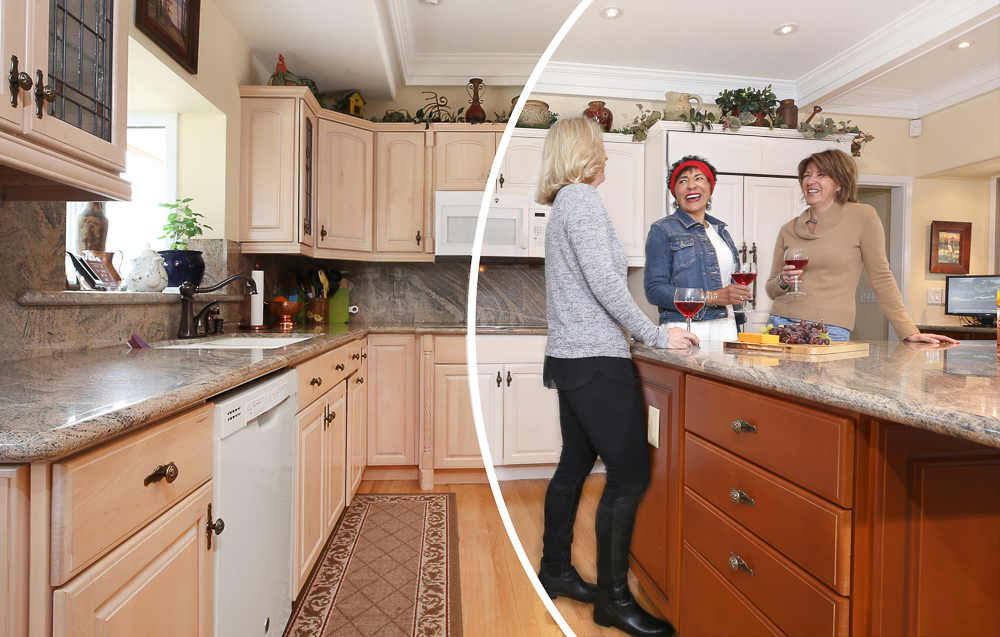 before and after picture of women in newly N-Hance Wood Refinished kitchen