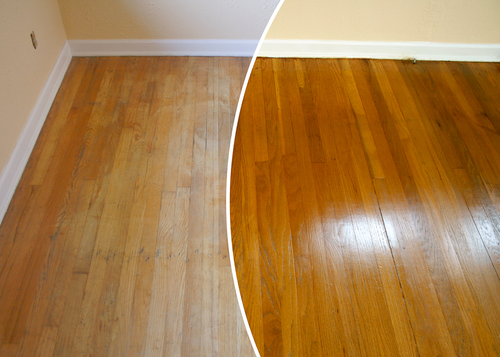 N-Hance refinished kitchen before and after wood stain