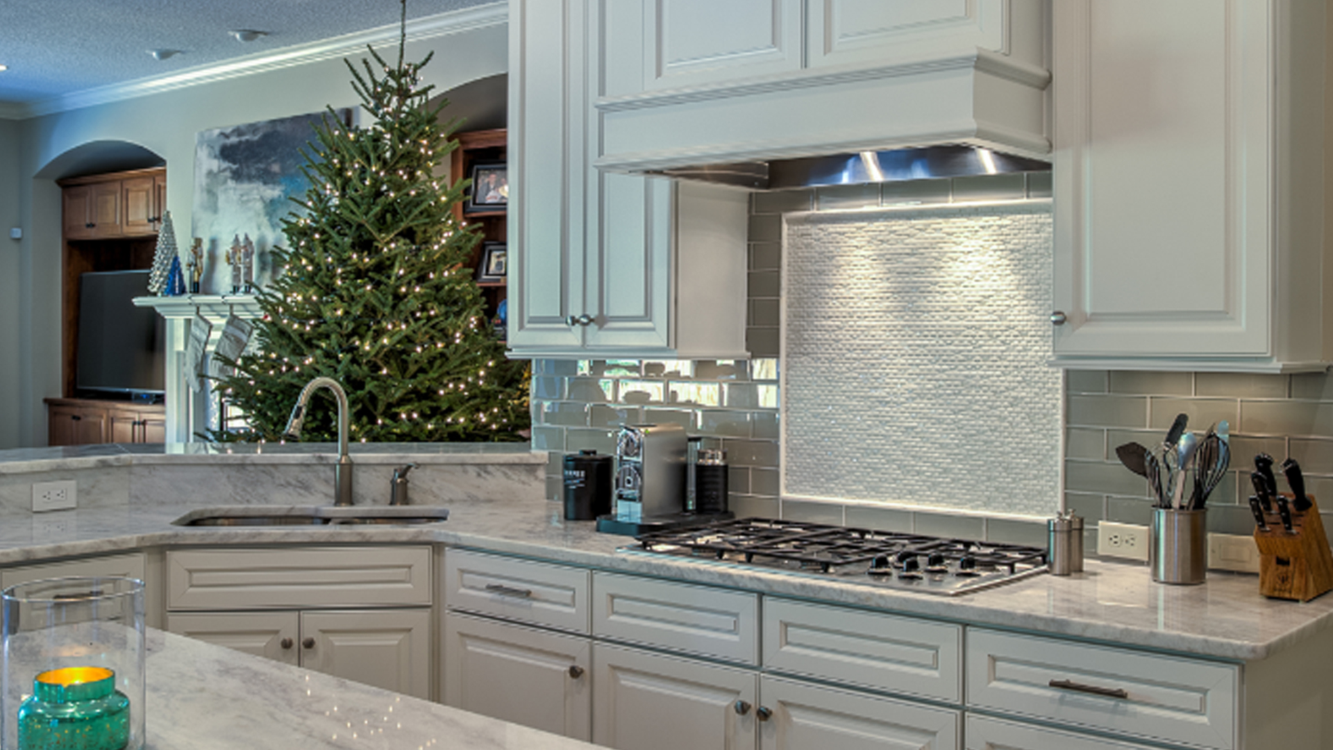 white cabinets in kitchen during Christmas