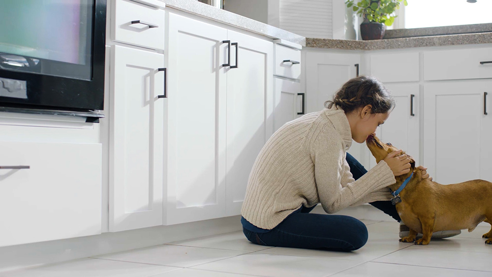 N-Hance franchise girl sits with dog in remodeled kitchen