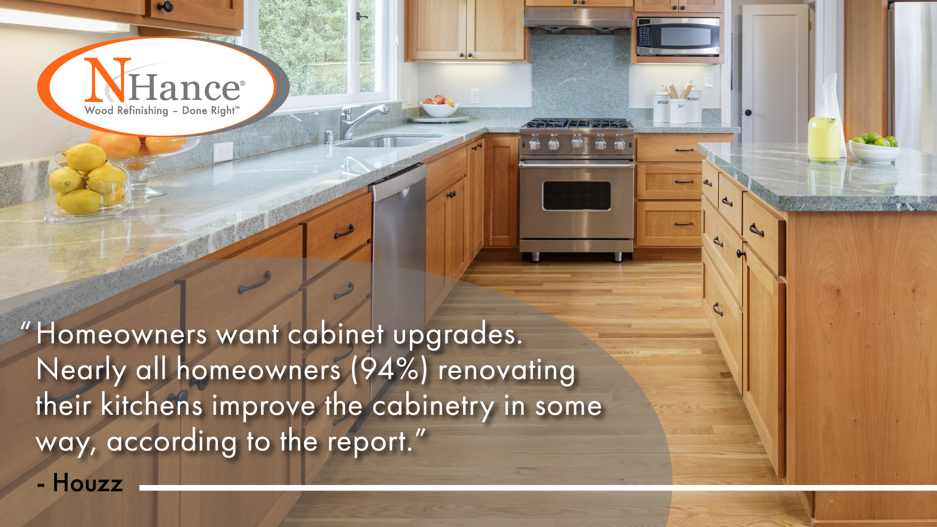 N-Hance franchise infographic about 94% of homeowners renovating their kitchens improve the cabinetry